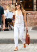 Keri Russell was spotted in a white tank top and white jeans while out with Matthew Rhys in Tribeca, New York City