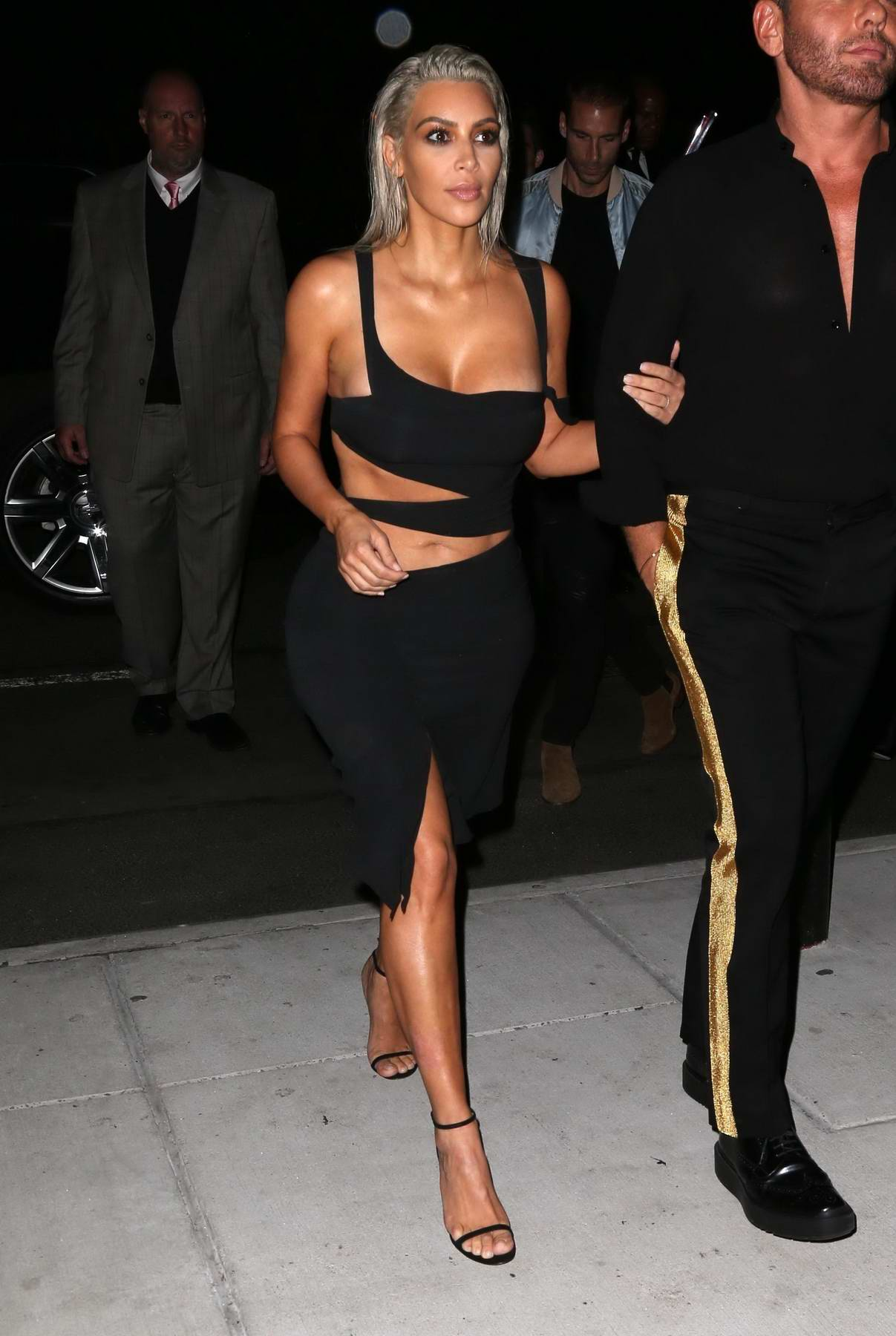 Kim Kardashian arrives at the Mert and Marcus book launch in New York