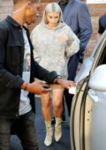 Kim Kardashian in a camo hoodie makes a visit to a local studio in Hollywood, Los Angeles