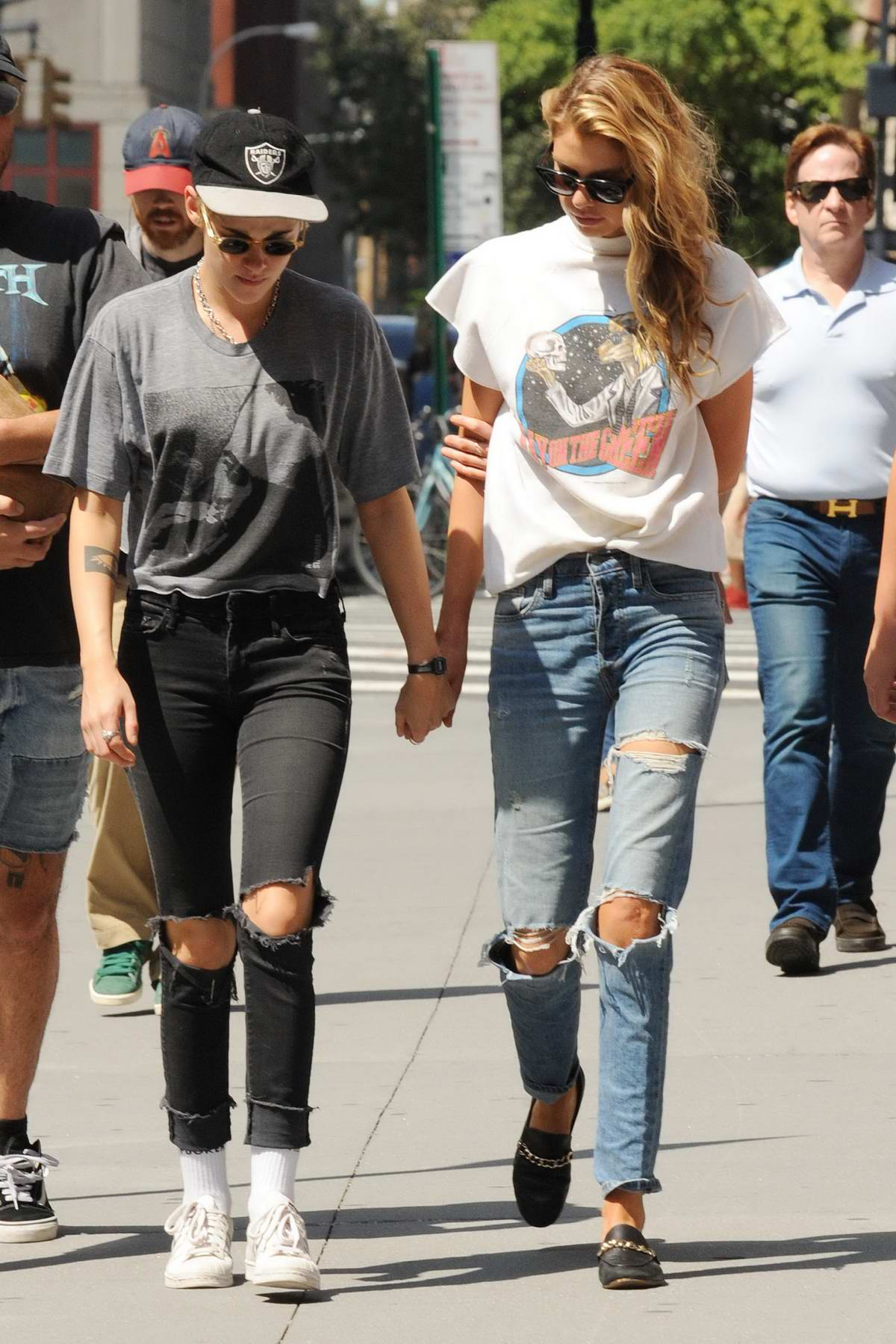Kristen Stewart and Stella Maxwell hold hands while taking a walk in Manhattan, New York
