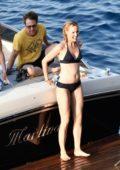 Leslie Bibb in a bikini enjoying a relaxing holiday on the Amalfi Coast in Italy