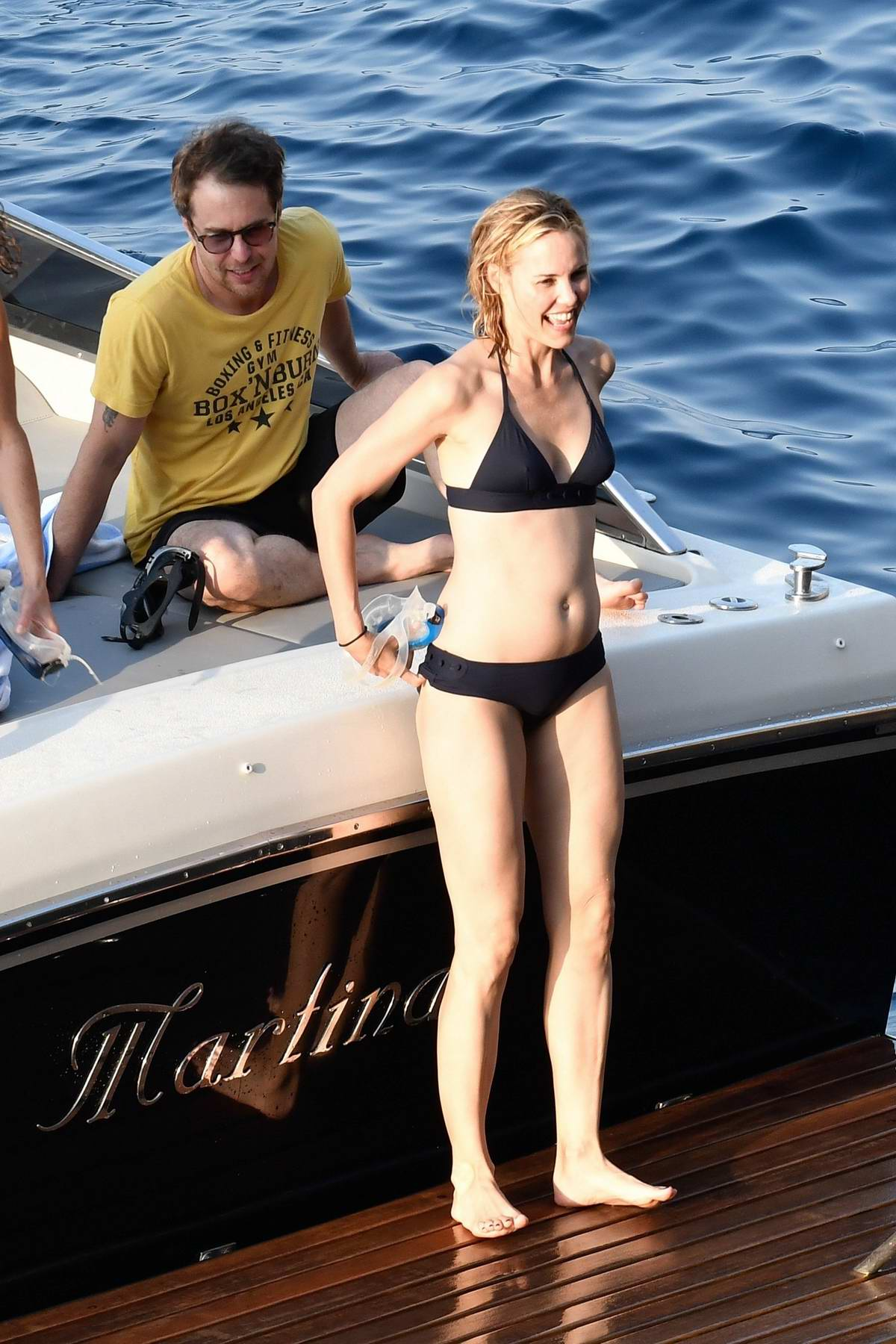 Leslie Bibb in a bikini enjoying a relaxing holiday on the Amalfi Coast in Italy