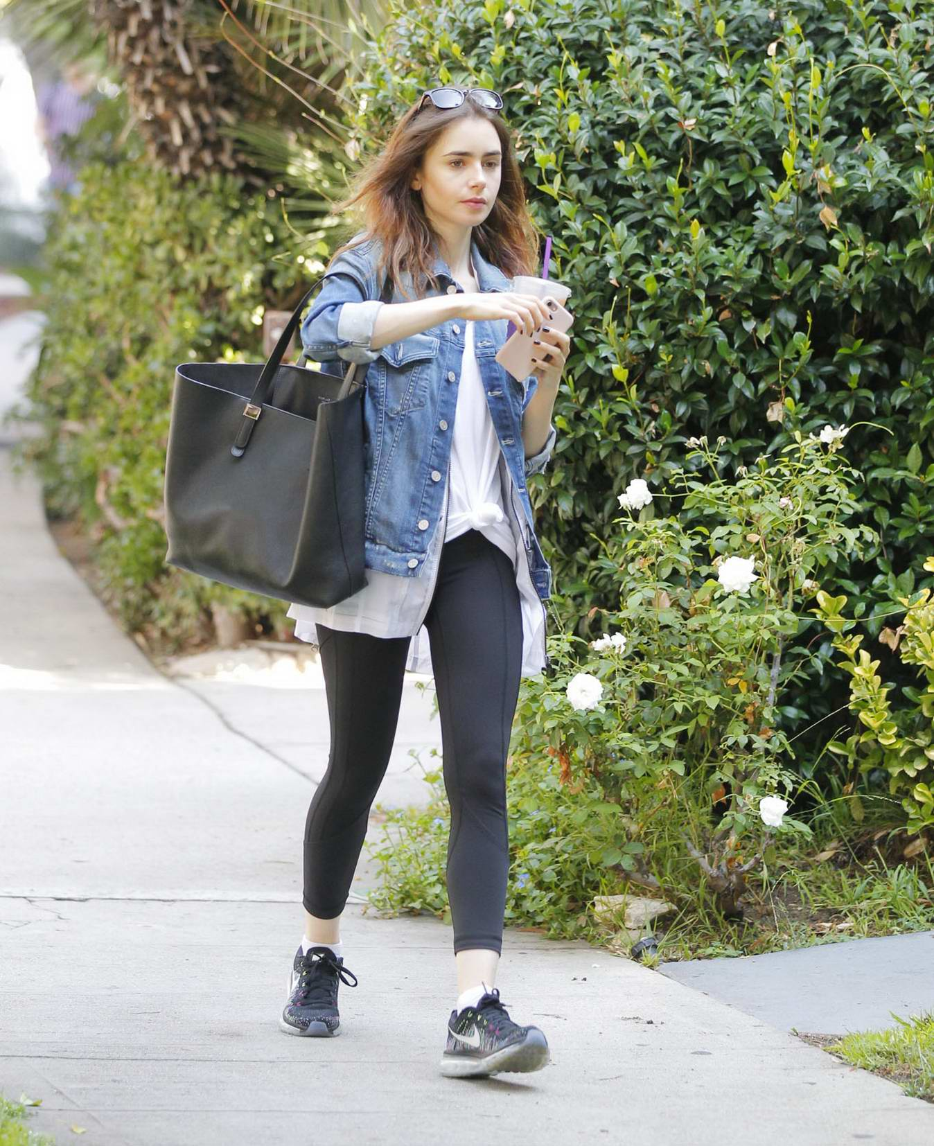 Lily Collins getting some iced tea in Beverly Hills, Los Angeles