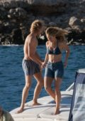 Lily James in a bikini top filming Mamma Mia on the island of Vis in Croatia