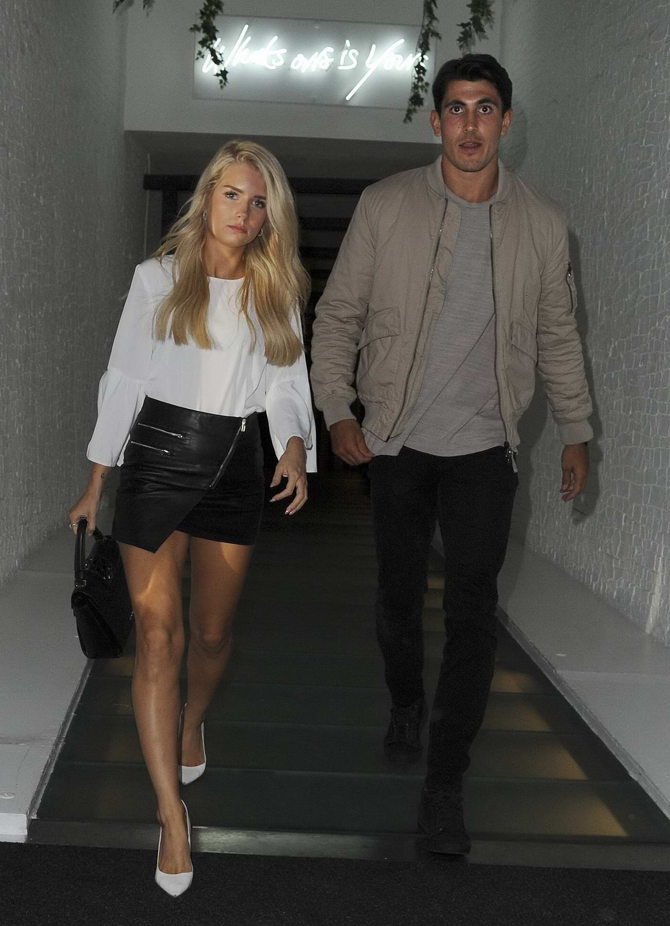 Lottie Moss seen on a date with a Mystery Man at Ours Restaurant in London
