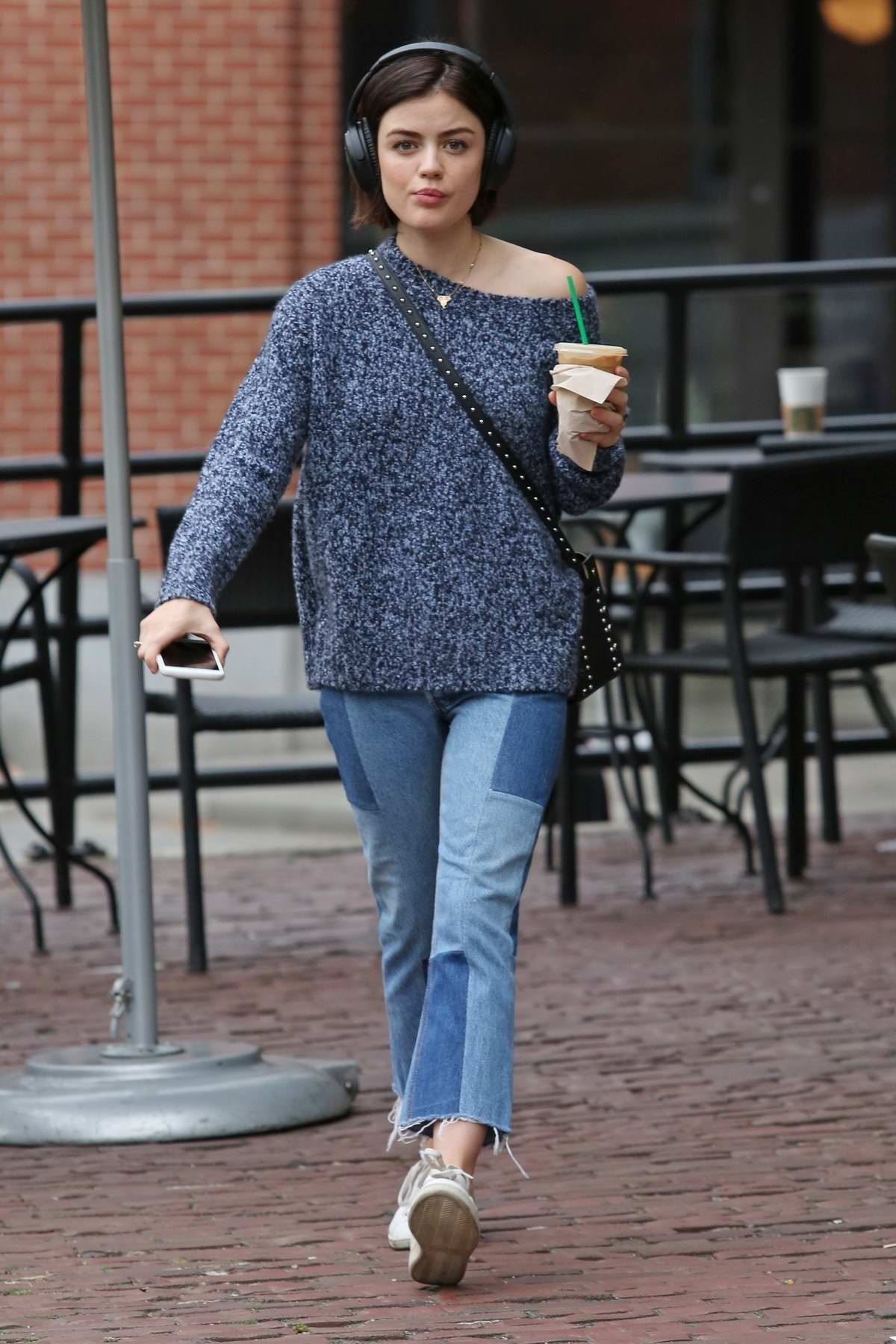 Lucy Hale grabs a morning coffee at Starbucks in Vancouver, Canada