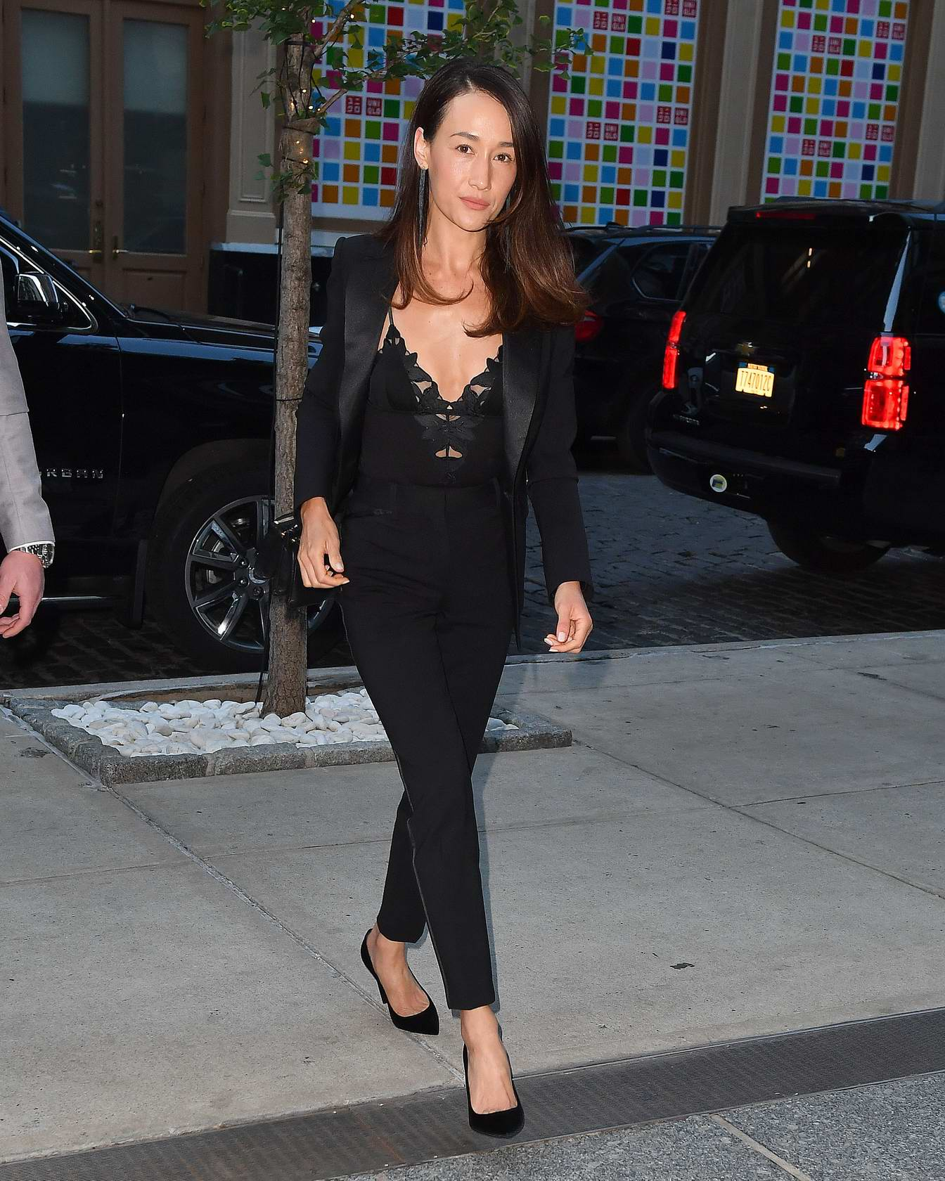 Maggie Q wears all black while out and about in New York City