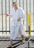 Mandy Moore spotted wearing a wig cap and a robe on the set of 'This Is Us' filming in downtown Los Angeles