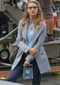 Melissa Benoist shoots a protest demonstration scene in Vancouver, Canada