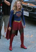 Melissa Benoist working on a scene for an upcoming Supergirl episode in Vancouver, British Columbia, Canada