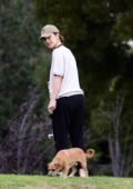Minka Kelly enjoys time at the park with her dogs in Los Angeles