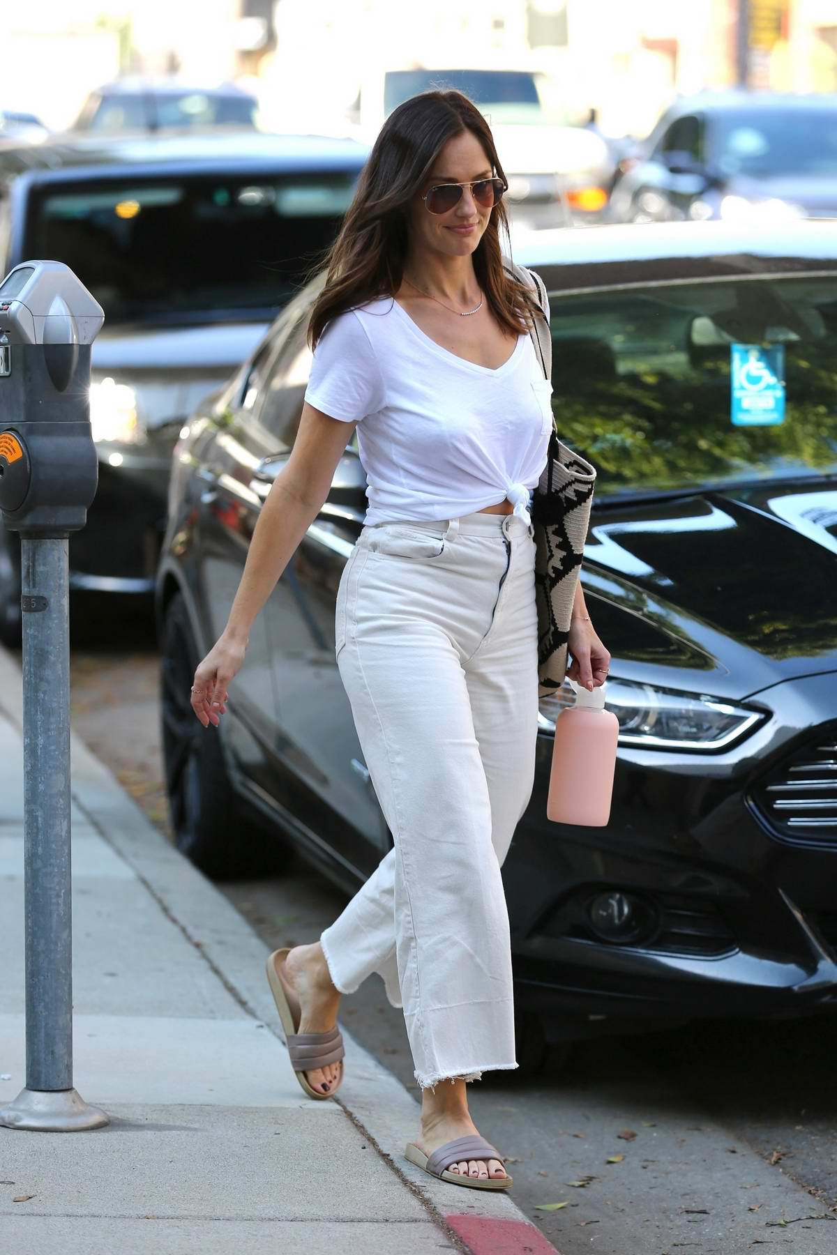 Minka Kelly heads to an appointment at Cedars-Sinai Medical