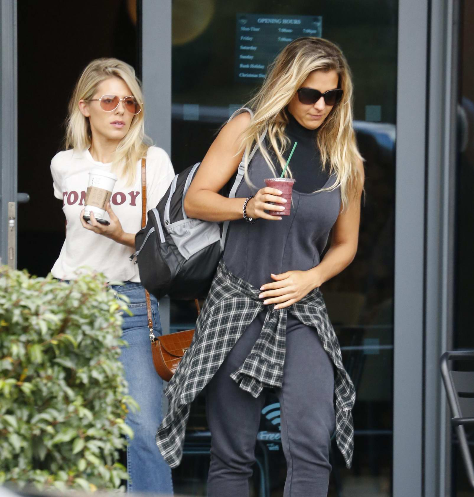 Mollie King and Gemma Atkinson leaving a hotel in London