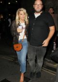 Mollie King leaving Gilgamesh Restaurant with a friend in London
