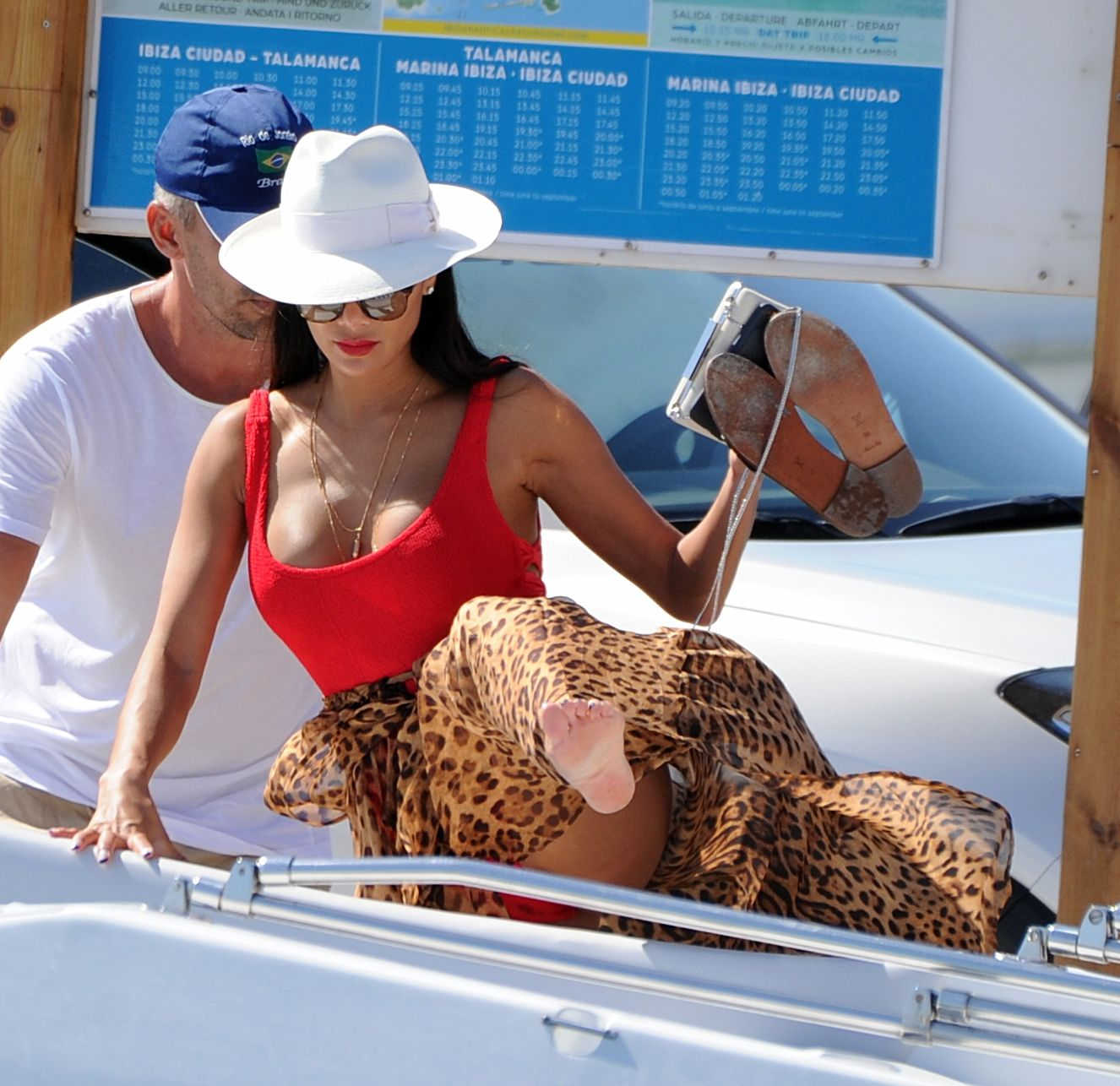 Nicole Scherzinger in a red swimsuit spotted on a boat in Ibiza, Spain