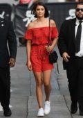 Nina Dobrev arrives at Jimmy Kimmel Live in Hollywood, Los Angeles