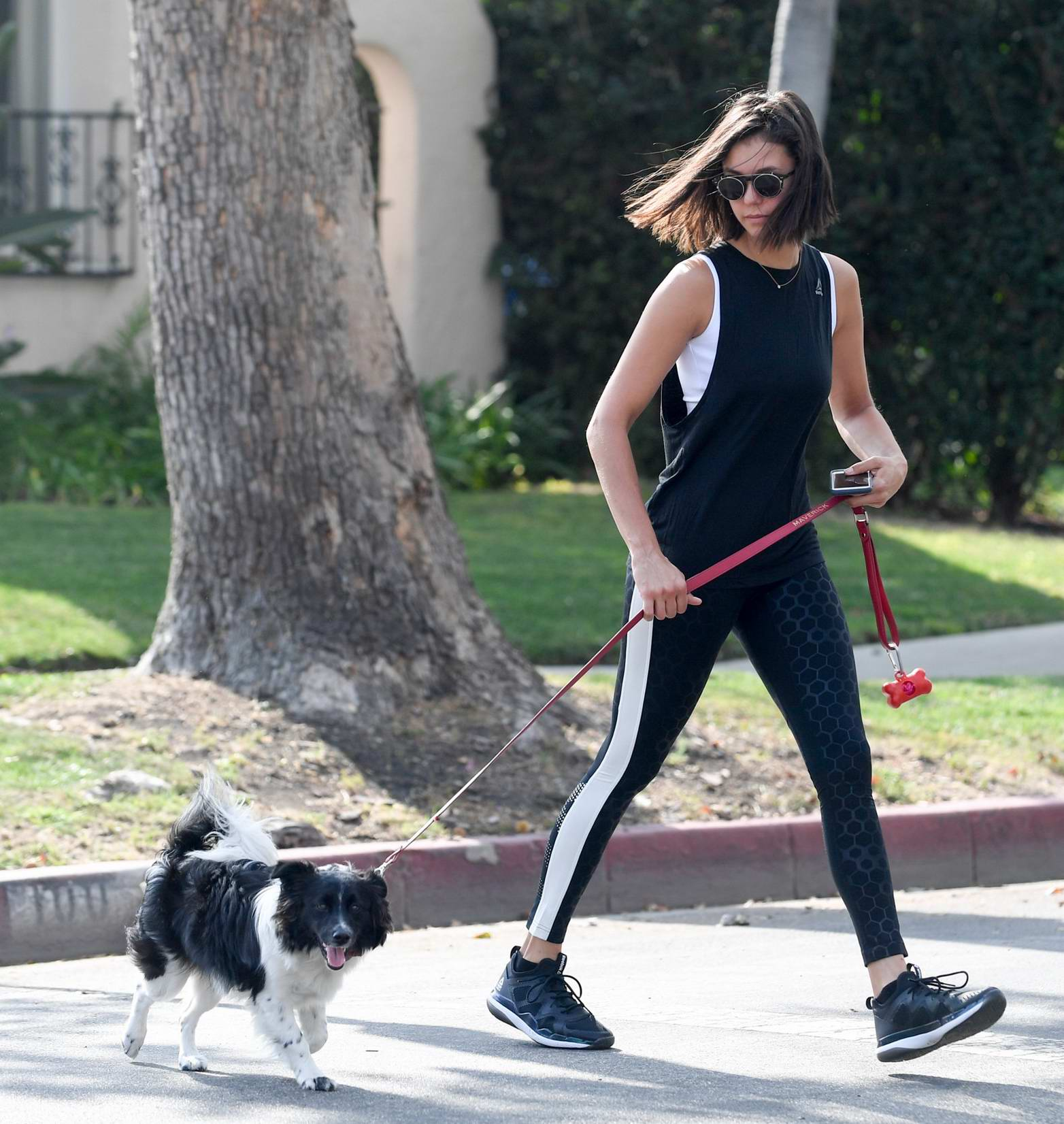Nina Dobrev is spotted taking her dog for a walk in Los Angeles