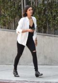 Nina Dobrev visits an office building in West Hollywood, Los Angeles