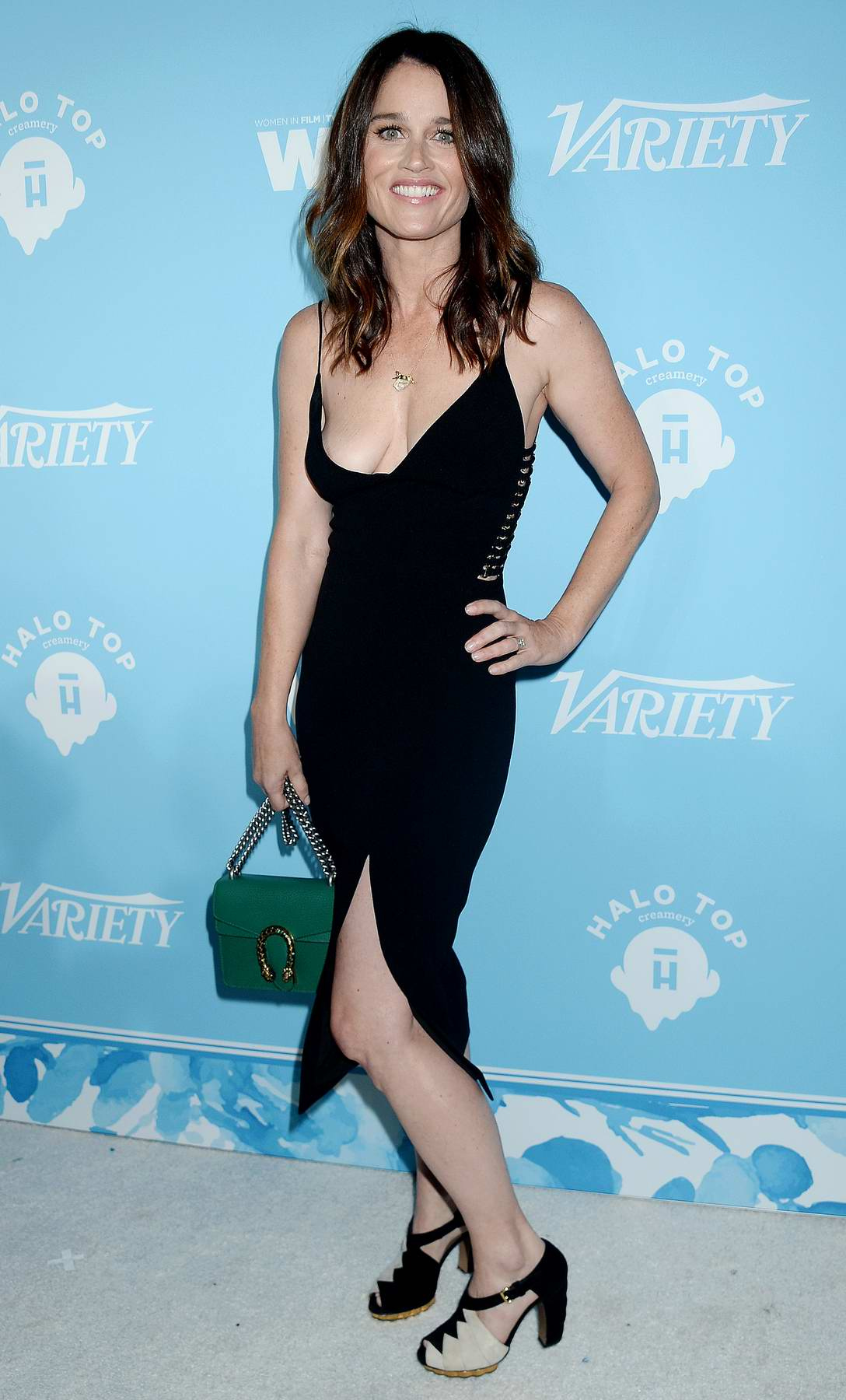 Robin Tunney arrives at Variety and Women in film Pre-EMMY Celebration in Los Angeles