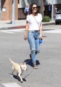Robin Tunney enjoys a walk with her dog in Beverly Hills, Los Angeles