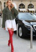 Romee Strijd arriving at Hotel Ritz for Harper's Bazaar 150th anniversary during Paris Fashion Week