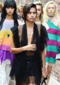 Sara Sampaio spotted in a black sheer top and shorts at the New York Fashion Week
