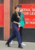 Selena Gomez and The Weeknd grabbing coffee on a rainy day in West Village, New York