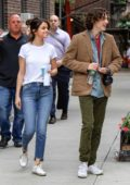 Selena Gomez and Timothee Chalamet pictured on the set of the untitled Woody Allen project in New York