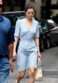 Selena Gomez in a baby blue summer dress out and about in New York