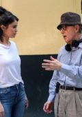 Selena Gomez in a white tee and blue jeans on the set of untitled Woody Allen project in New York