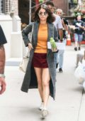 Selena Gomez on the set of her upcoming Woody Allen project showing off her second outfit of the day