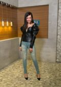 Sofia Carson visits EXTRA at Universal Studios in Hollywood, Los Angeles