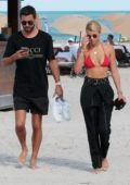 sofia richie in a red bikini top taking a walk with scott disick by the beach in miami-230917_#