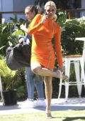 Sophie Monk getting ready for a photoshoot on the Gold Coast, Australia