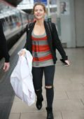 Stephanie Waring at the Manchester station catching a train to London