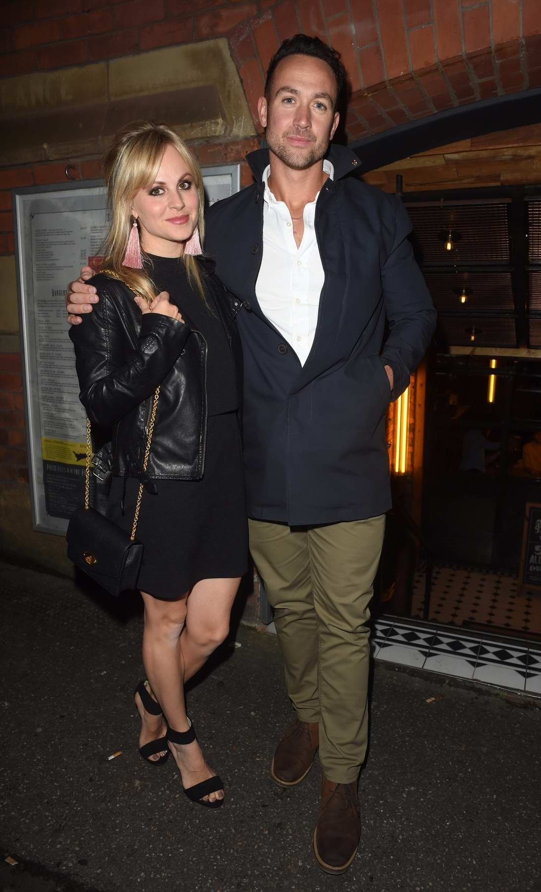 Tina O'Brien and Adam Crofts enjoying a night out at The Smoke House Cellar Bar and Restaurant in Manchester, UK