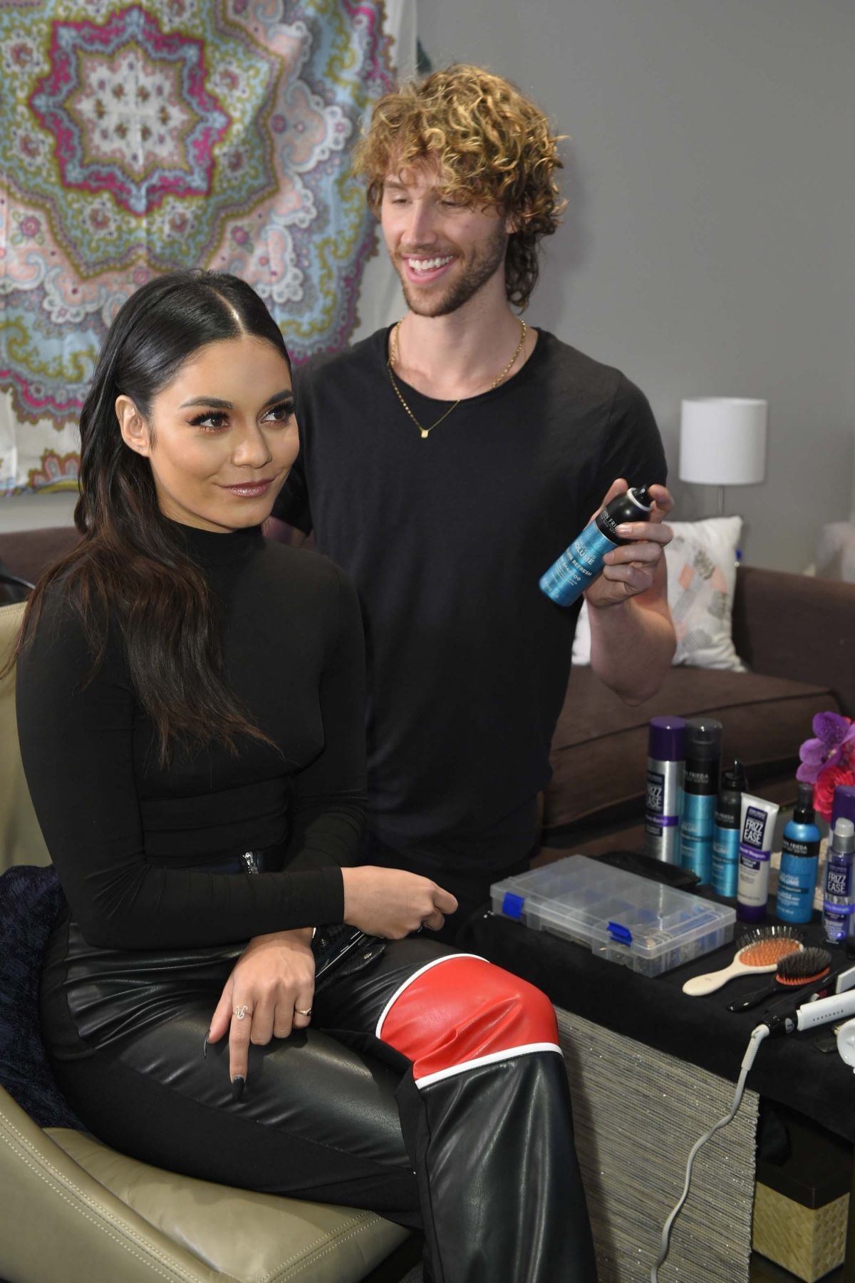 Vanessa Hudgens getting final touches backstage at CBS Studios in Los Angeles
