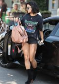 Vanessa Hudgens in all black arriving at a spa in West Hollywood, Los Angeles