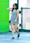 Victoria Justice in a chekered summer dress out in Studio City, Los Angeles