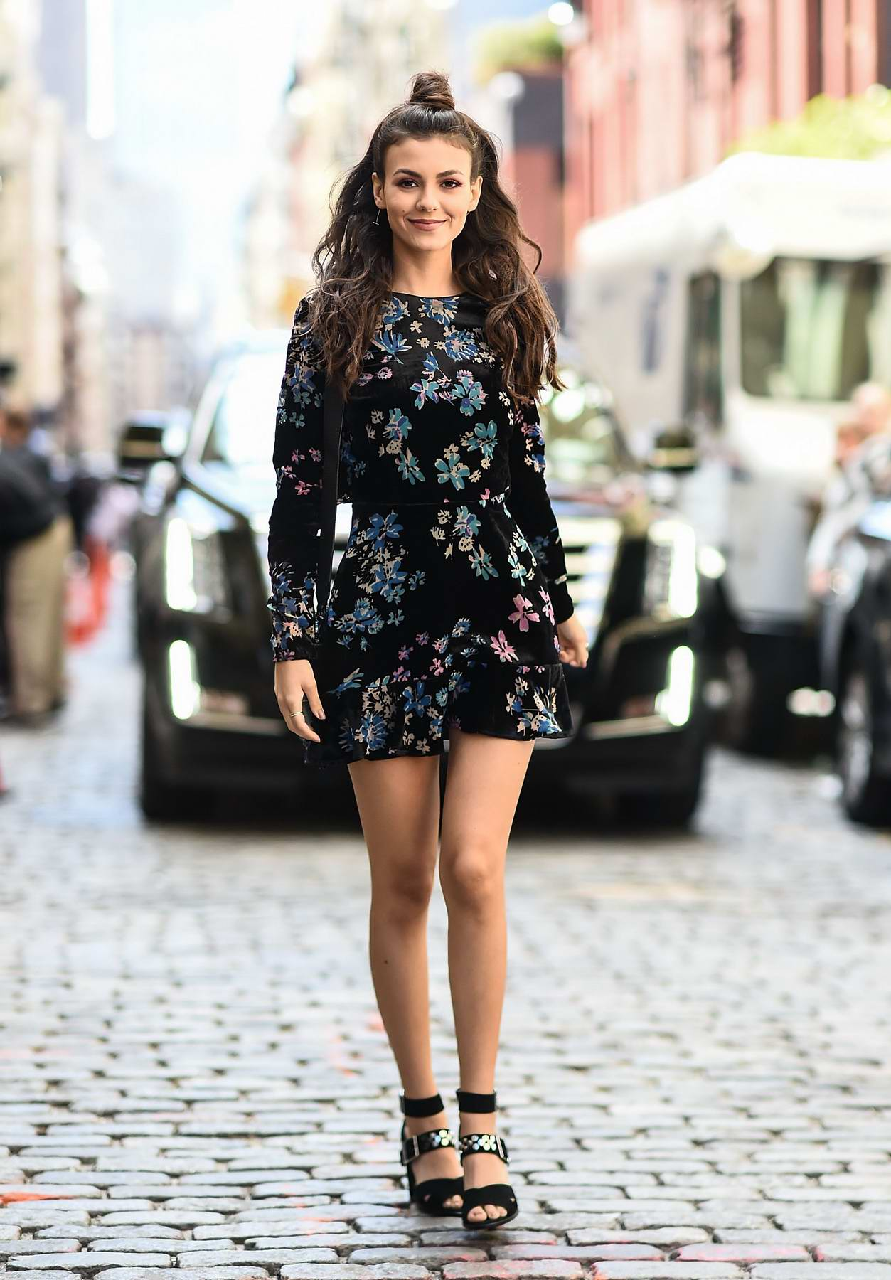 Victoria Justice wearing a Rebecca Minkoff dress and shoes outside the Rebecca Minkoff show in New York