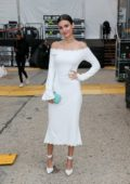 Victoria Justice wearing a white dress spotted during New York Fashion Week