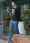 Whitney Port stopping by a Coffee Bean and Tea Leaf for a couple of coffees in Los Angeles