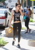 Alessandra Ambrosio grab some juice after working out at the gym in Brentwood, Los Angeles