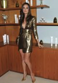 Alessandra Ambrosio in a golden dress at MARAJO Haircare launch party in Los Angeles