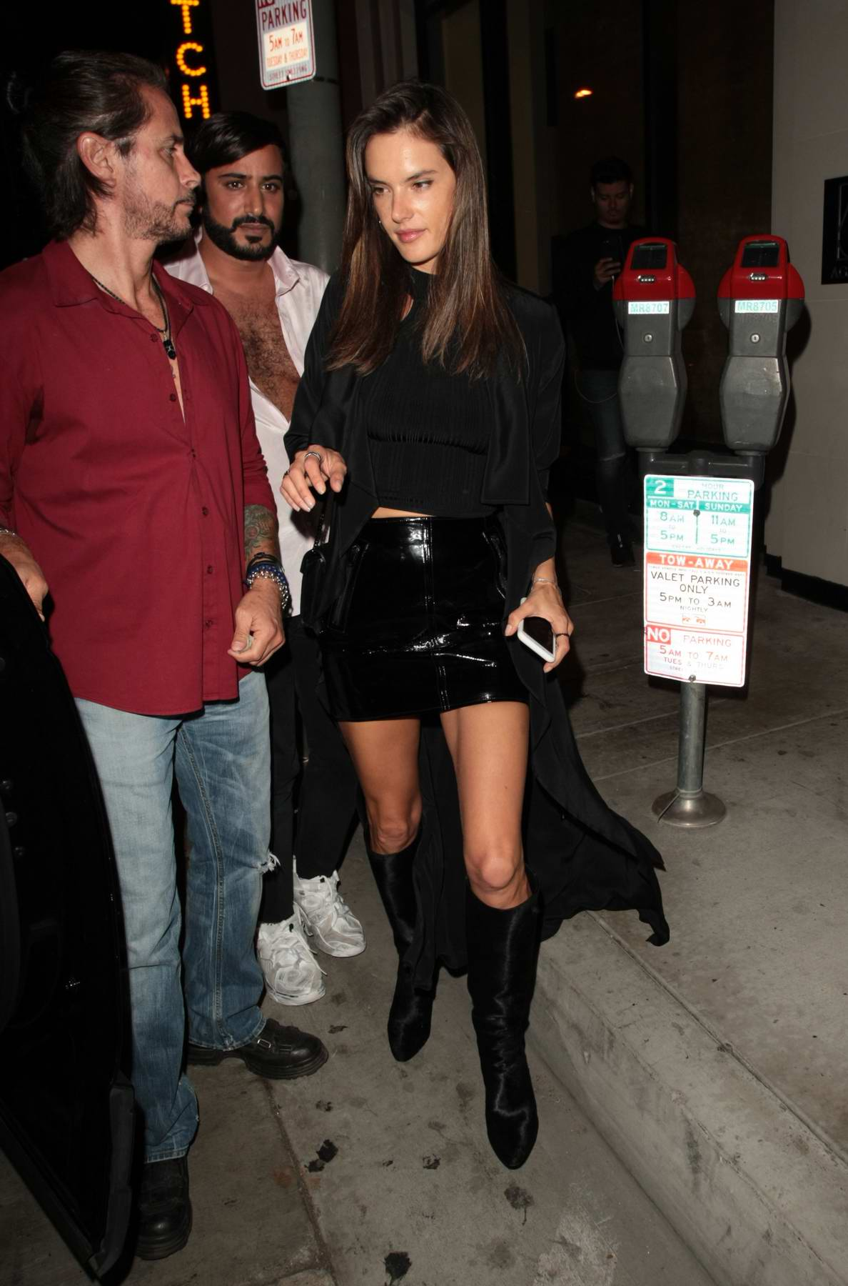 Alessandra Ambrosio is spotted having dinner with friends at Catch in West Hollywood, Los Angeles