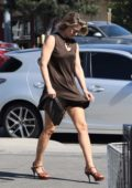 Ali Larter in a brown short dress grabs a quick lunch to go from a local market in Beverly Hills, Los Angeles