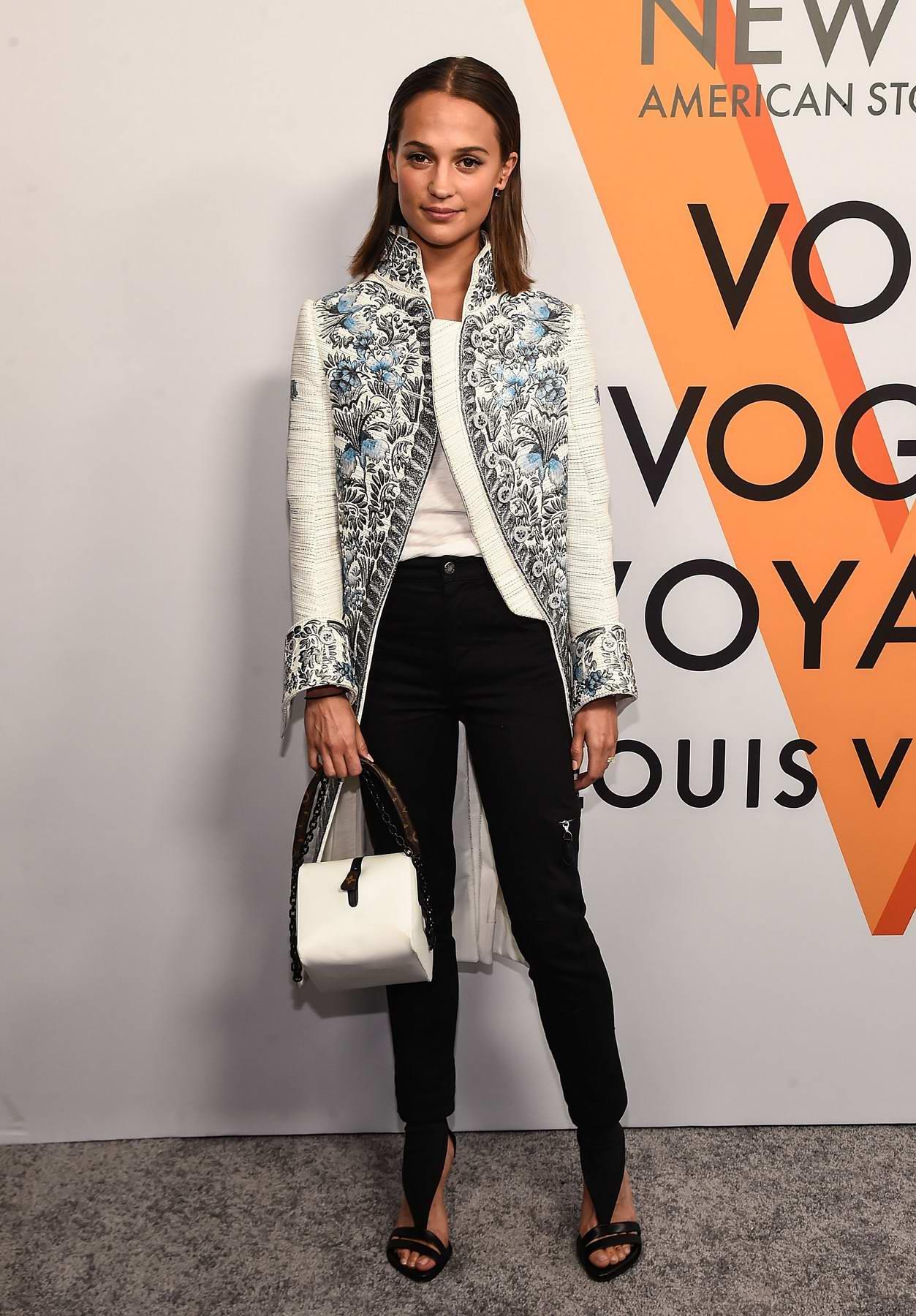 Alicia Vikander at Louis Vuitton 'Volez, Voguez, Voyagez' exhibition opening in New York