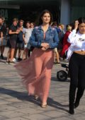 Amanda Cerny take selfies with her fans while out for a GUESS event in Barcelona, Spain