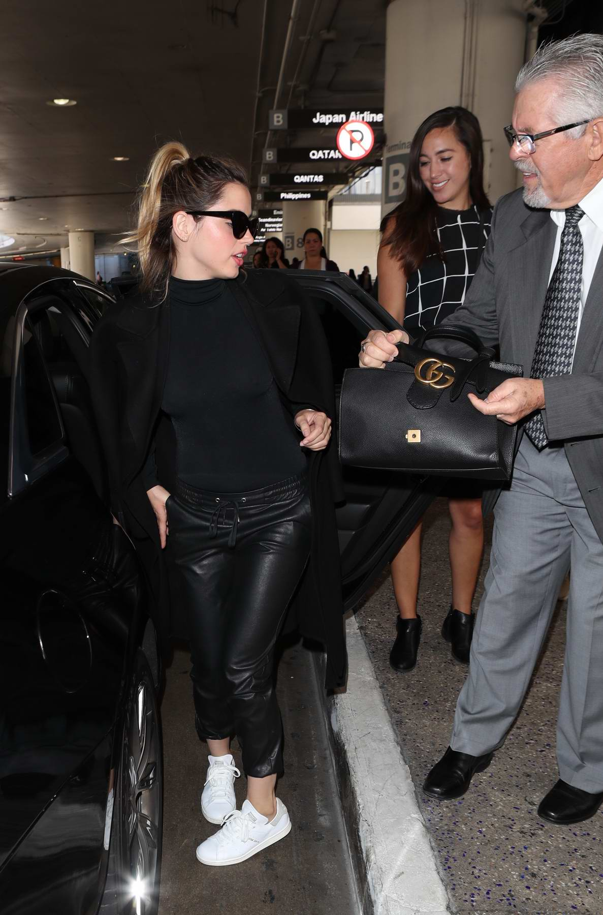 Ana de Armas in all black outfit spotted leaving LAX International Airport, Los Angeles
