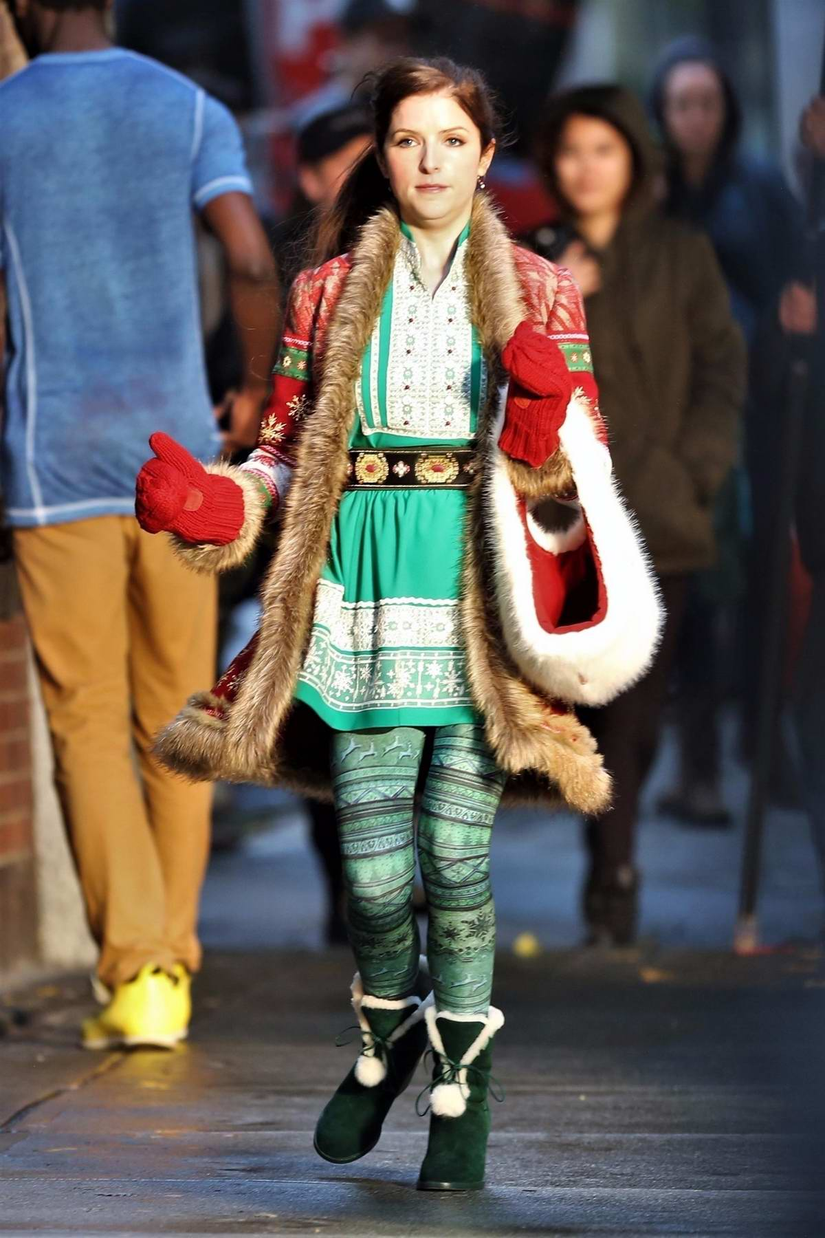 Anna Kendrick shoots a scene for Christmas feature in Vancouver, Canada